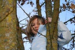 Petite fille dans un arbre, développons l'autonomie de nos enfants sans culpabilité !