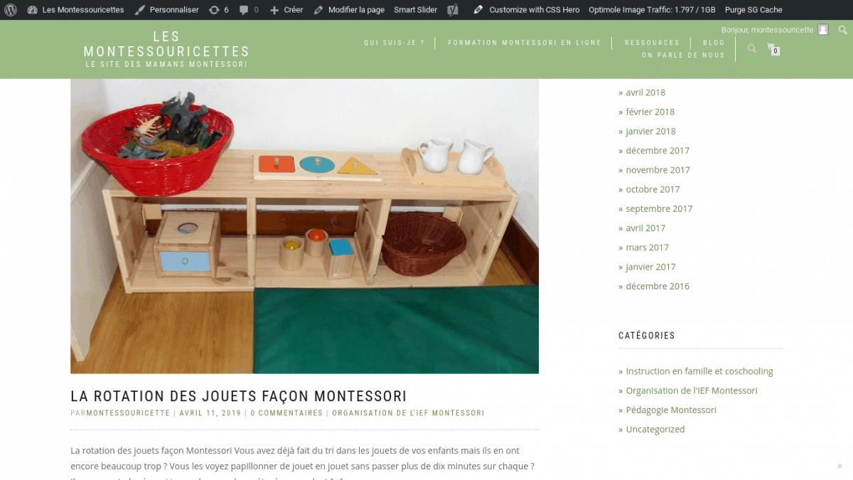 Blog des Montessouricettes, sur l'IEF façon Montessori
